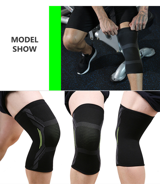 Outdoor Cycling Riding Nylon Knitted Elastic Full Knee Brace Strap Support Strong Compression Protection Sport Pads Running Fitness Equipment Sports
