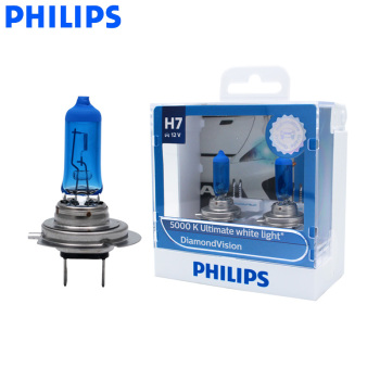 Philips H7 12V 55W Diamond Vision 5000K Xenon biały samochód halogenowy oryginalny reflektor żarówka oryginalna jasna lampa 12972DVS2 para tanie i dobre opinie 12 v 55 w 2 bulbs 1 year Headlight high low beam PX26d 935 ± 15 lm Up to 5000K ultimate white light