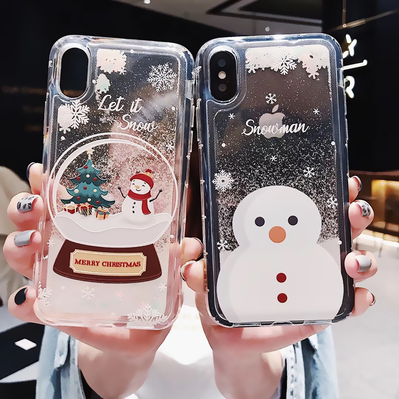 <font><b>Glitter</b></font> Christmas <font><b>Phone</b></font> <font><b>Case</b></font> For <font><b>iphone</b></font> 6 6S 7 8 Plus X <font><b>XR</b></font> XS MAX <font><b>Case</b></font> Dynamic Liquid Quicksand Cover <font><b>Phone</b></font> <font><b>Cases</b></font> Bling Sequins image