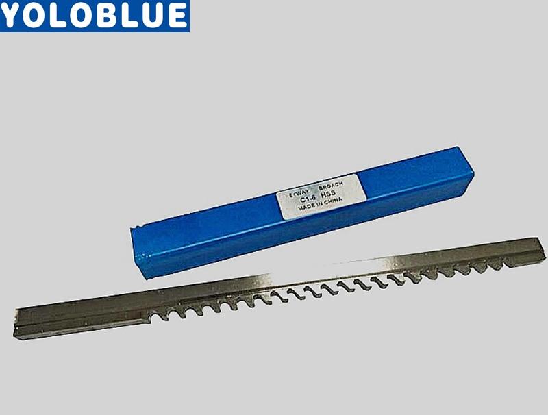HSS 6mm C1 Push-Type Keyway Broach Metric Size HSS Keyway Cutting Tool E