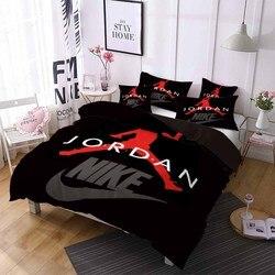 ספורט כוכב מצעי כדורסל נגן שמיכה כיסוי חורף שמיכת כיסוי ציפית ילד גברים בית במעונות מיטה זוגית אחת סט אדום שחור