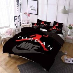 スポーツスター寝具バスケットボールプレーヤー布団カバー冬のキルトカバー枕少年男性ホーム寮シングル、ダブルベッドセット赤黒