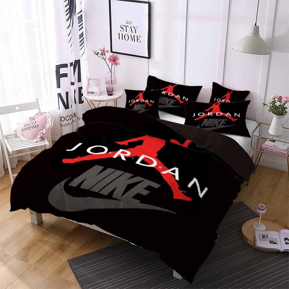 Spor yıldızı yatak basketbol oyuncusu nevresim kış yorgan kapak yastık kılıfı erkek ev yurt tek, çift yatak takımı kırmızı siyah