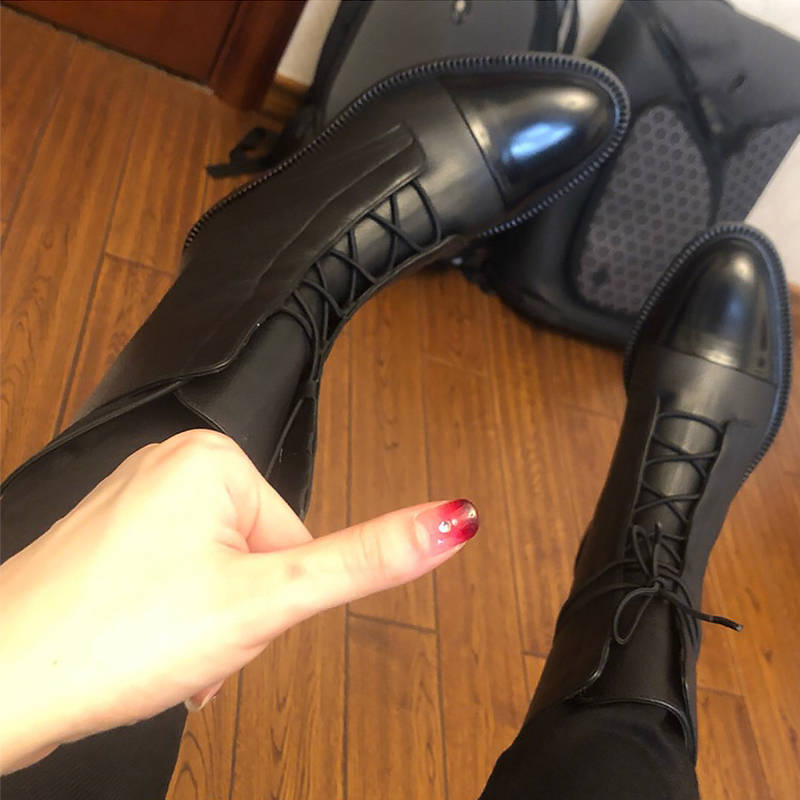 Details about  /Womens Fashion Punk Round Toe Lace Up Ankle Boot Low Heels Motorcycle Shoes Q705