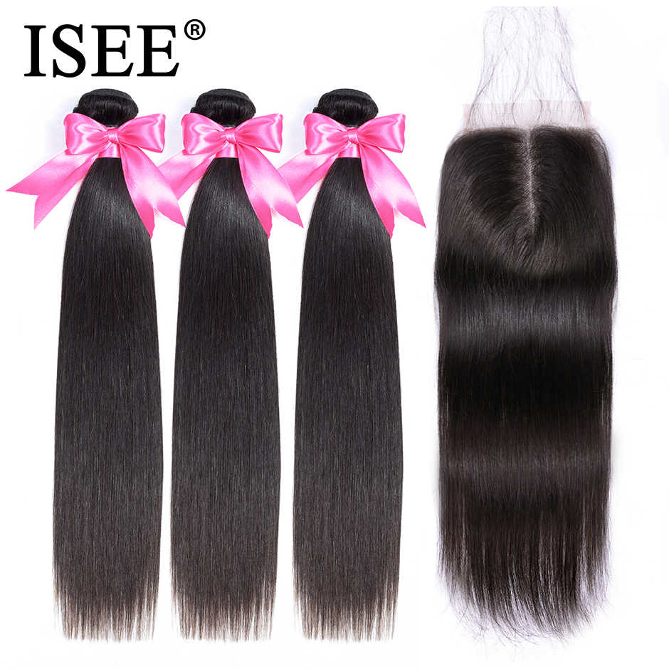 Straight Hair Bundles With Closure Malaysian Human Hair Bundles With Frontal ISEE HAIR Bundles Remy Straight Hair With Closure