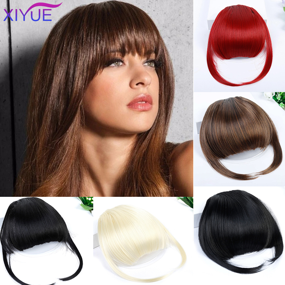 High-Temperature Matte Silk Front False Fringe Clip In Straight Bangs Hairpiece With High Temperature Synthetic Hair