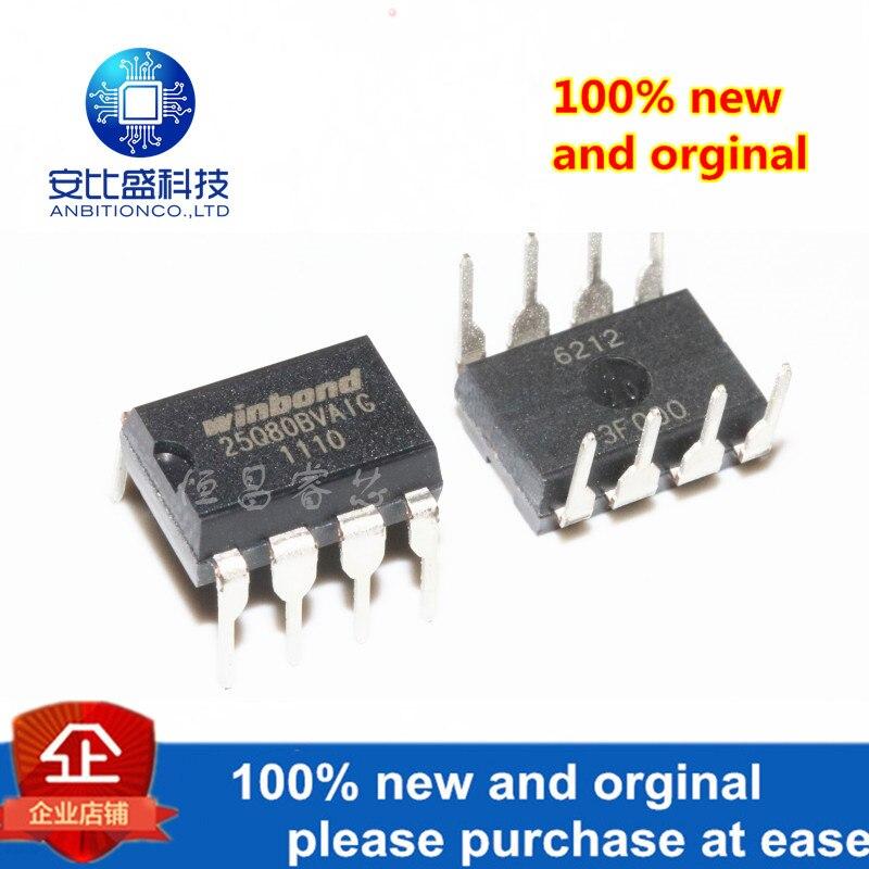 10pcs 100% New And Orginal W25Q80BVAIG Silk-screen 25Q80BVAIG 8Mbits DIP8 Iin Stock
