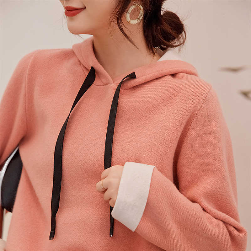 Spring and Autumn New Loose Knit Pullover Hooded Women Cashmere Sweater Solid Color Hooded Wool Sweater Coat