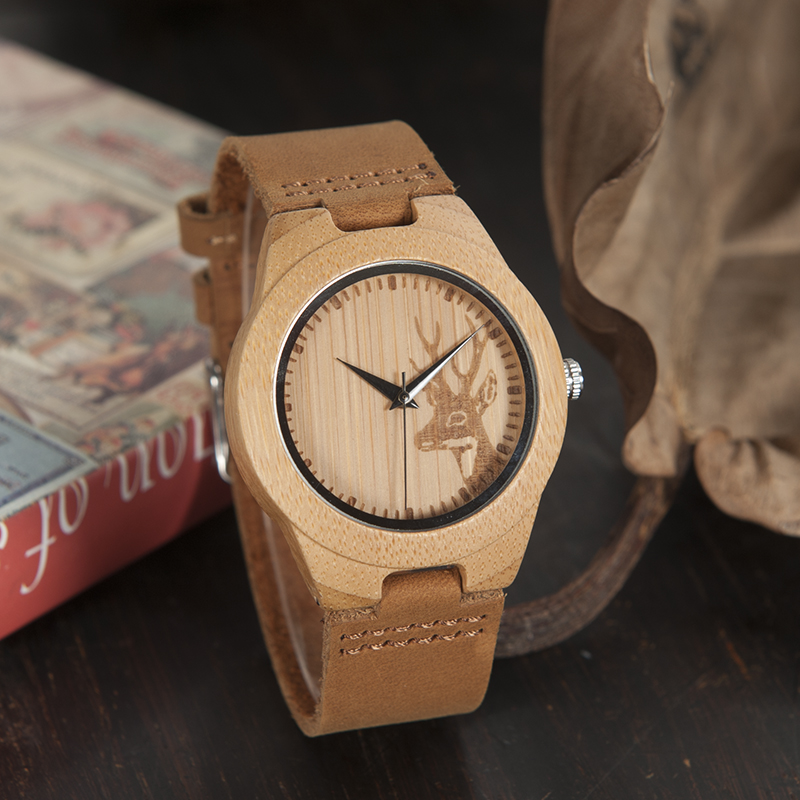 BOBO BIRD Top Brand Men's Bamboo Wooden Watch Quartz Real Leather Strap Men Watches Relojes Finos De Hombre