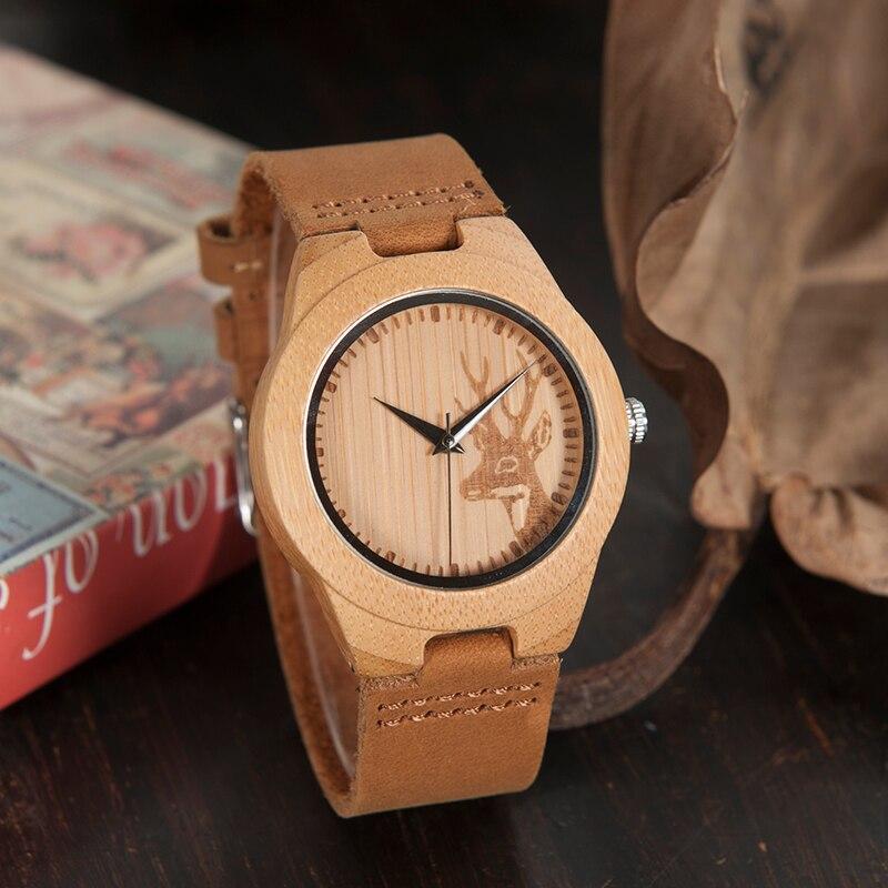BOBO BIRD Top Brand Men's Bamboo Wooden Watch Quartz Real Leather Strap Men Watches Relojes Finos De Hombre