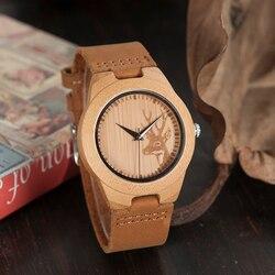 Bobo pássaro topo da marca relógio de madeira de bambu masculino quartzo pulseira de couro real relógios masculinos relojes finos hombre