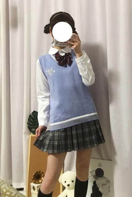 Japanese JK Sweater vest solid color cute cosplay pullover Girl school vest Rabbit cute little animal purple blue pink 6