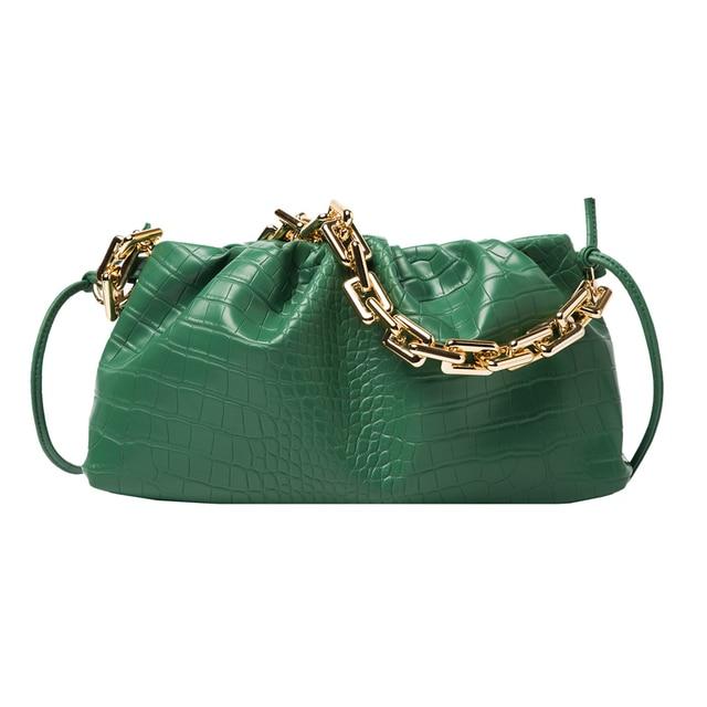 Retro Alligator PU Pleated Handbag Women Cloud Shoulder Chain Underarm Bag