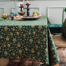 Japan Style Linen Cotton Christmas Party Tablecloth Rectangle Green Bronzing Gold Dinning Table Cover For Home Events Decorative
