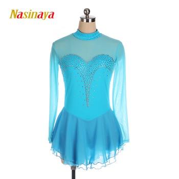 Nasinaya Blue Figure Skating Dress Ice Skirt Spandex Womens girls customized gymnastics white rhinestones