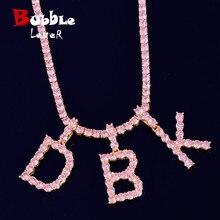 Collier et pendentif en lettres de Tennis en Zircon de couleur rose, bijoux Hip Hop à la mode, couleur or, avec chaîne de Tennis de 4mm, pour hommes/femmes