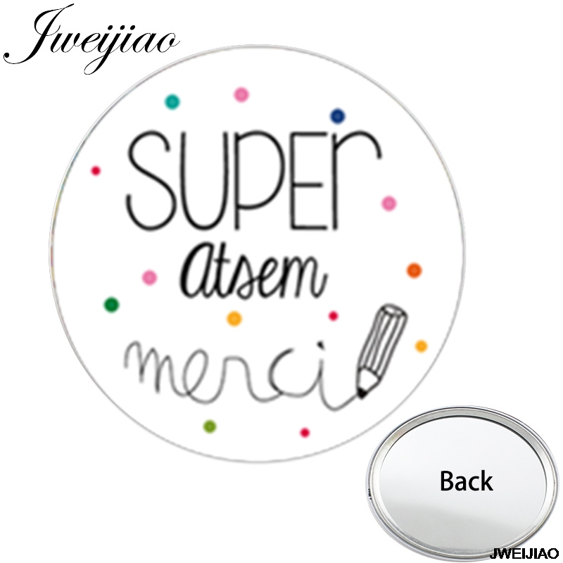 Youhaken SUPER atsem спасибо одностороннее плоское карманное зеркало JE SUIS UNE QUI DECHIRE Портативные Простые зеркала для макияжа