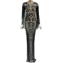 Fringes Dress Black Mesh Birthday Sparkly-Crystals Evening-Party See-Through Stage Costume