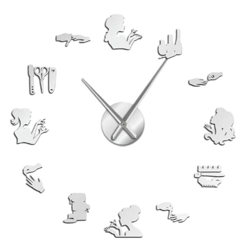 3D DIY Large Size Wall Clock Nail Salon Mirror Wall Stickers Decor Frameless Mute Non Ticking Quartz Watch Clocks