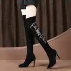 Сапоги до колена; новые кожаные сапоги на высоком каблуке; матовые женские сапоги - 1