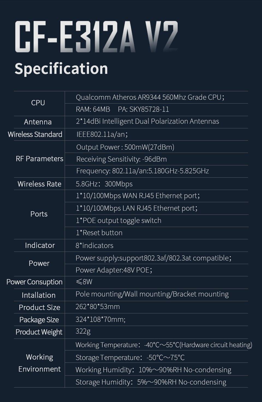 Comfast CF-E312A 3km cpe 5ghz 300mbps roteador