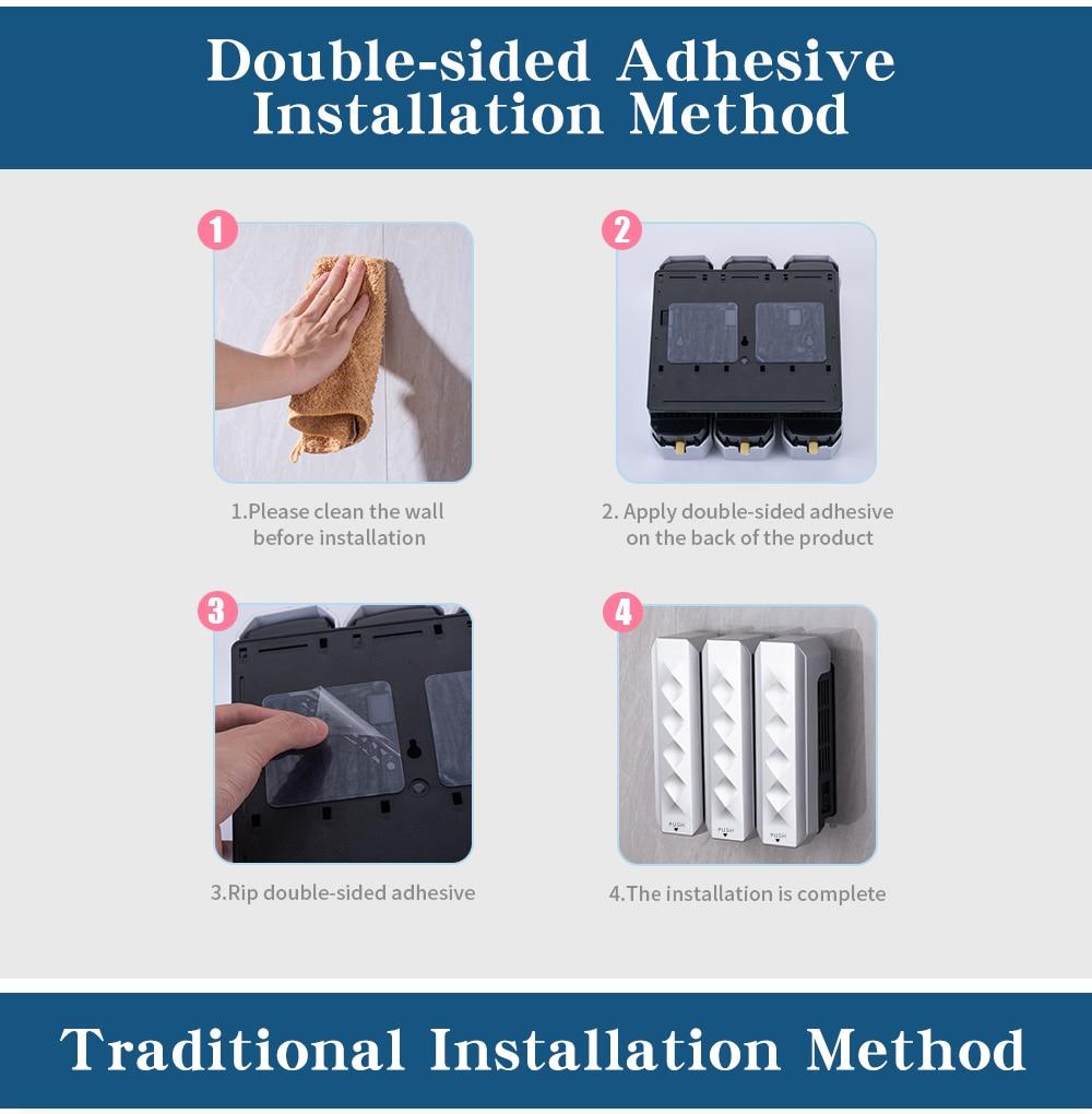 Hadf7a7e2dd7848af9f0069463c7b87faE Nail Free Wall Mounted Bathroom 350ML Soap Dispenser Mounted Shampoo Liquid Soap Bottle Bathroom Accessories