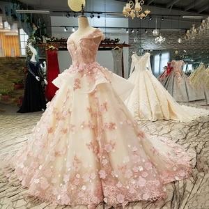 Image 3 - LS6669 цвет кружева 3d цветы вечернее платье колпачок рукав o образным вырезом зашнуровать вверх платье для бальное платье для прекрасной китайской оптовой продажи