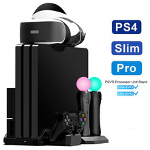 PS4 Pro Slim Ps Vr Verticale Stand 2 Koelventilator 3 Controller Opladen Dock Voor Play Station 4 Ps 4 serie Console Move Gamepad(China)
