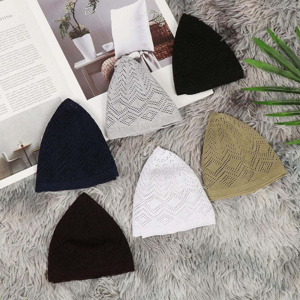 New Men Muslim Prayer Hats Cotton Knitting Hats Men's Skull Cap Muslim Islamic Prayer Hat Head Wear Solid Casual Male Cap Gifts