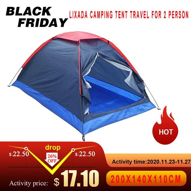 Lixada namiot kempingowy podróż dla 2 osób namiot na zimowe namioty wędkarskie odkryty Camping piesze wycieczki z torba do przenoszenia 200x140x110cm