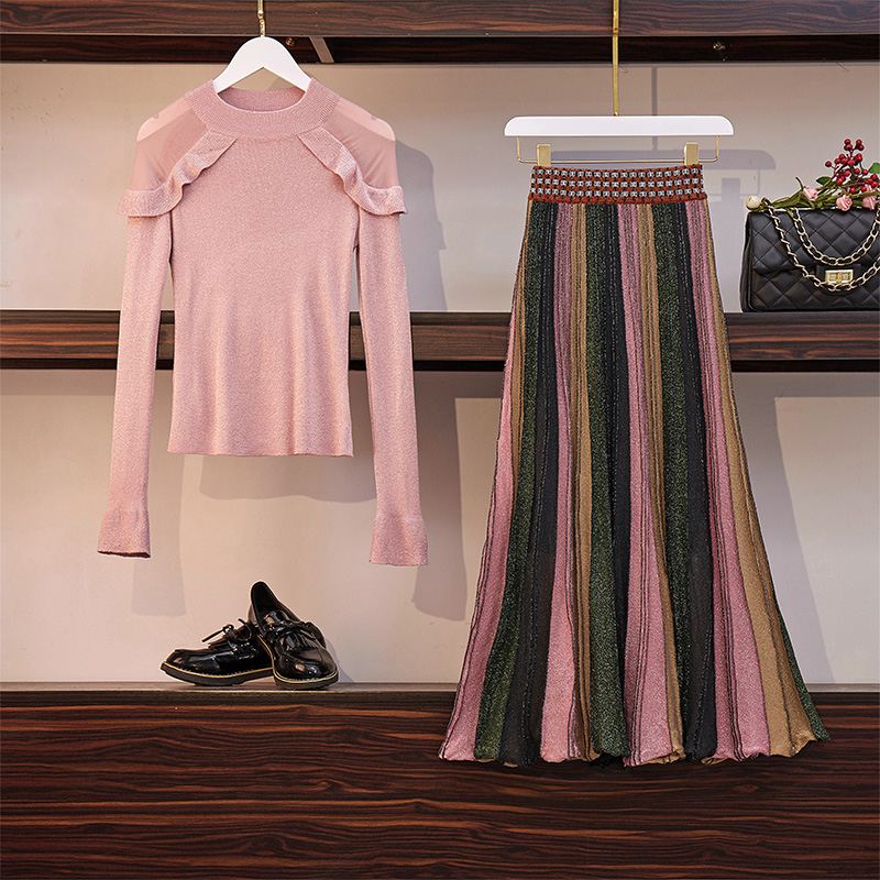 New 2019 Autumn 2 Piece Suits Women Pink Ruffles Knitted Sweater Suits + Bling Long Pleated Colour Striped Skirt Set