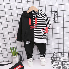 Get more info on the 2019 Autumn Children Clothes suit Boys Striped Hooded T shirt Letter Pants 2pcs/Sets Kid Toddler Cotton Clothing Baby Tracksuits