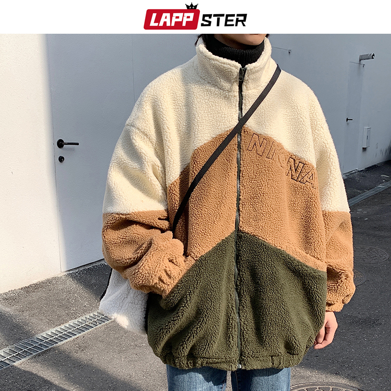 LAPPSTER Men Embroidery Wool Jacket Coats 2020 Winter Jacket Mens Patchwork Warm Parka Male Harajuku Korean Fashions Windbreaker