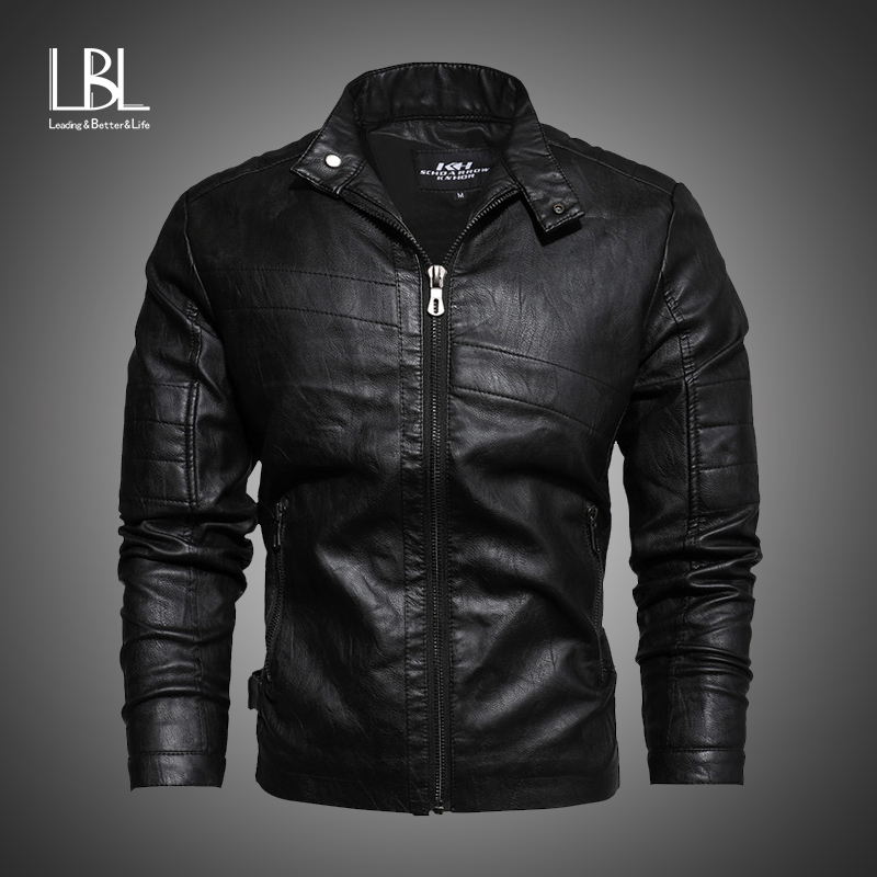 2019 Autumn Winter Men's Leather Jackets Casual Fashion Stand Collar Motorcycle Jacket Men Slim Fit Quality Leather Jacket Men