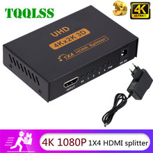 TQQLSS 4k Splitter compatibile HDMI Full HD 1080p Video Switcher compatibile HDMI Switcher 1X4 Split 1 in 4 Out per HDTV DVD