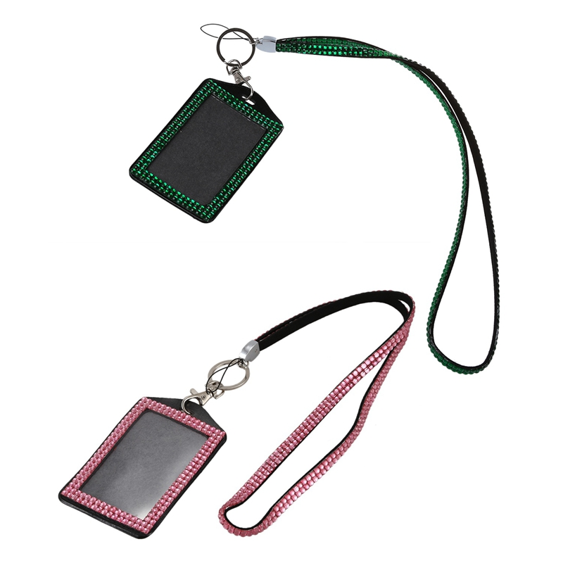 2 Pcs Rhinestone Bling Crystal Custom Lanyard Vertical ID Badge Holder (Pink&Dark Green)