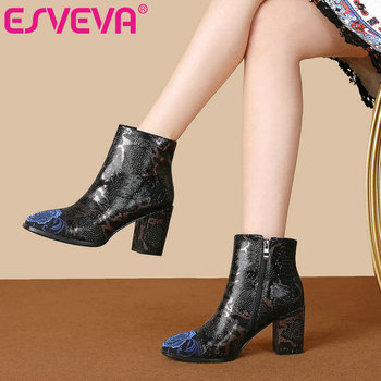 ESVEVA 2020 Women Shoes Winter Ankle Boots Western Pointed Toe Vintage Style Leather+PU High Heel Motorcycle Boot Size 34-43