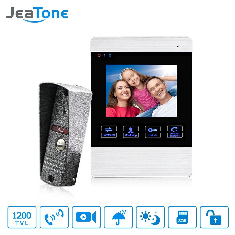 Jeatone 4 Polegada hd led vídeo porta sistema de intercomunicação campainha da porta 1200tvl câmera liberação de armazenamento de vídeo automático desbloqueio de metal campainha