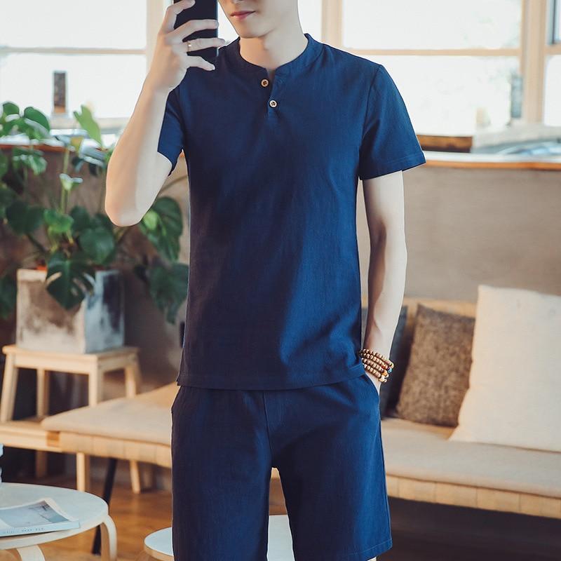 2020 New Products Summer Wear Flax Short Sleeve T-shirt Shorts Set Men Fashion Cotton Linen Comfortable Leisure Suit