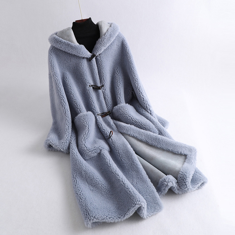 Winter Women Medium Long Real Sheep Fur Coat 2020 Luxury Natural Fur Hooded Teddy Jacket Loose Plus Thick Warm