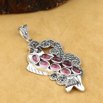 925 Sterling Silver Jewelry Retro Thai Silver Men And Women Models Inlaid Marcasite Fish Delicate Garnet Pendant