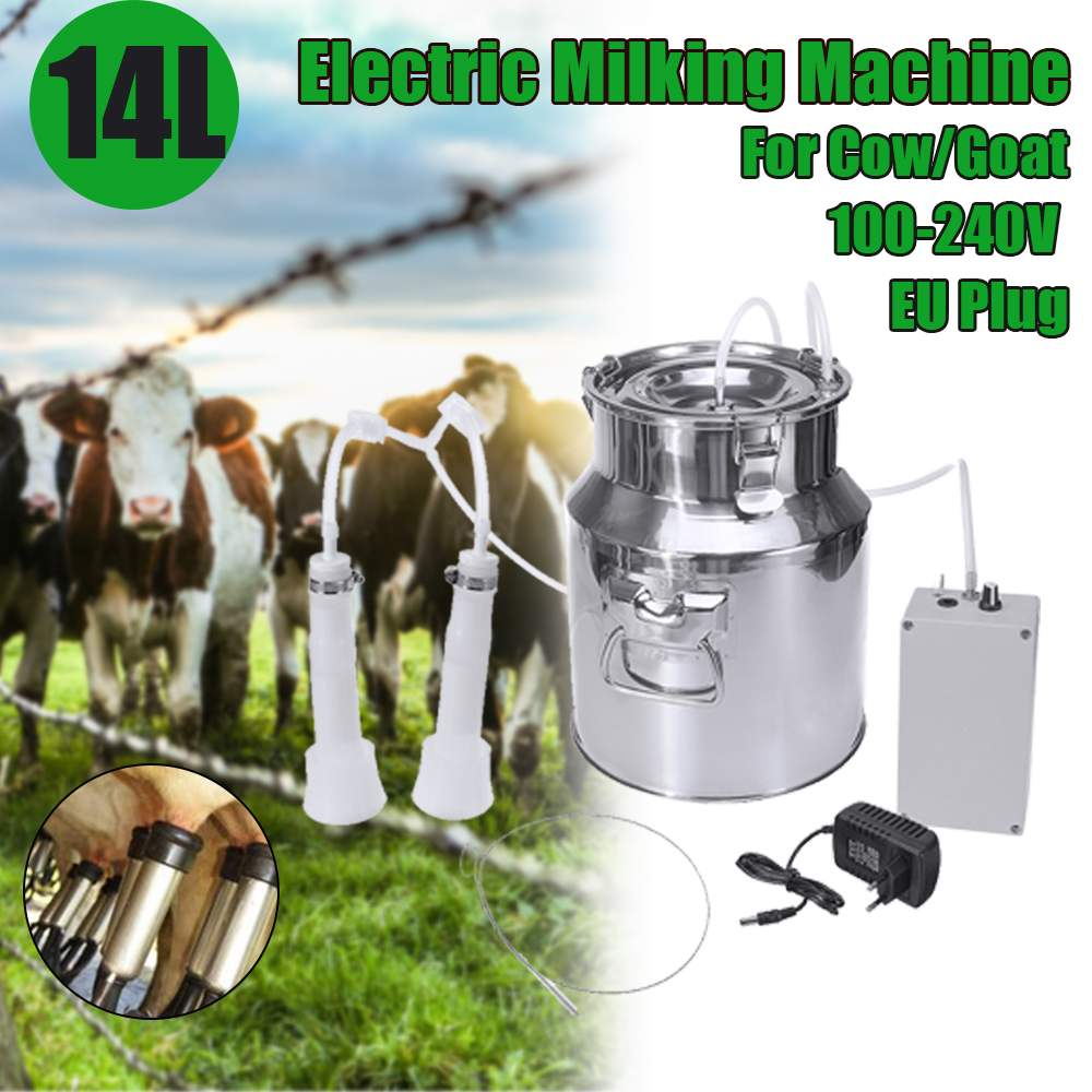 14L 60Kpa Electric Milking Machine Cow Goat Sheep Milker Portable Barrels <font><b>Tank</b></font> Double Heads Milking Tools 110V-240V <font><b>15L</b></font>/Min image