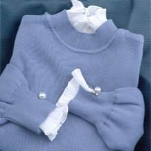 Novo 2020 mulheres camisola moda outono inverno pérolas manga longa retalhos chiffon de malha senhoras pull pulôver camisola topos