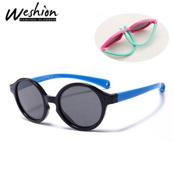 Ronda niños bebé gafas de sol polarizadas gafas TR90 marco Flexible tonos para niños niñas con el caso Anti Glare filtro UV