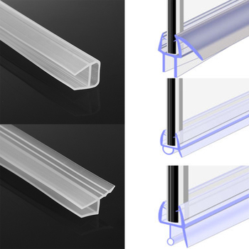 1M Or 50cm+50cm 6-12mm F U h Shape Glass Door Sealing Strips Silicone Rubber For Bathroom Screen  Window Weatherstrip