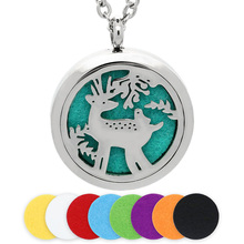 BOFEE 30MM Essential Oil Diffuser Locket Necklace Pendant Silver Magnetic Deer Stainless Steel Perfume Aromatherapy Jewelry Gift