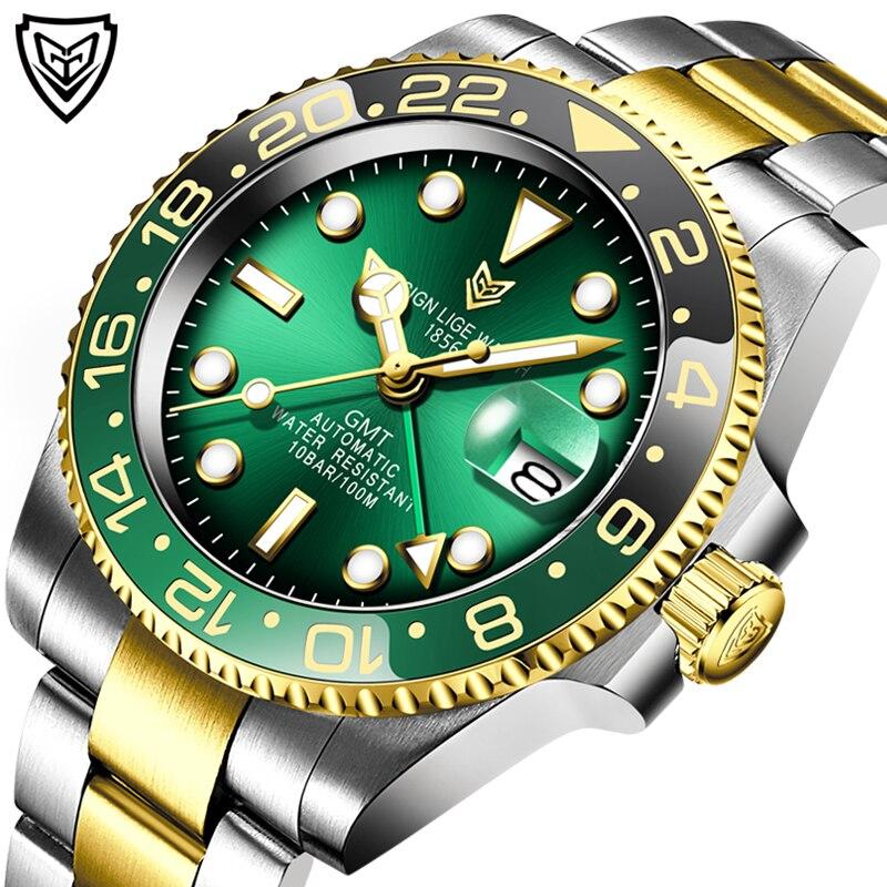 Купить часы наручные lige мужские механические модные роскошные водонепроницаемые