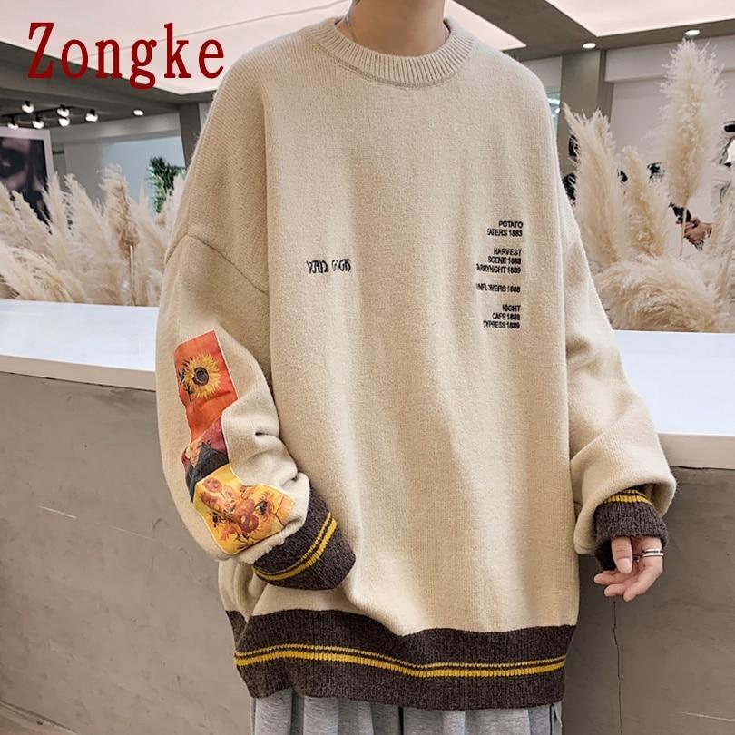 Zongke на каждый день в винтажном стиле; Мужские свитера длиной до бедра одежда 2021 Мода Harajuku свитера пуловер для мужчин свитер для девочек зимняя одежда в стиле милитари для мужчин M 3XL|Джемперы | | АлиЭкспресс