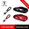 T carbon 1Pcs Auto Schlüssel Fall Abdeckung mit Carbon Faser Schlüssel Shell Lagerung Tasche Protector Deluxe Styling für tesla Model S Modell X-in Schlüsseletui für Auto aus Kraftfahrzeuge und Motorräder bei