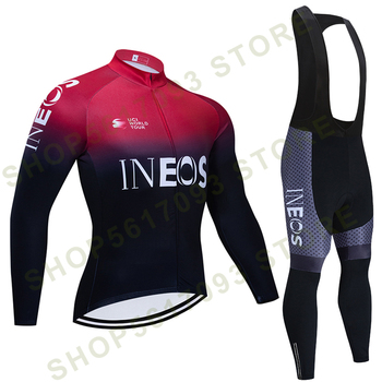 TEAM ineos-Ropa de Ciclismo para hombre, Maillot y Culotte térmico de lana,...